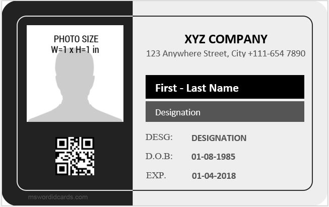 Employee ID Card Templates Microsoft Word ID Card Templates