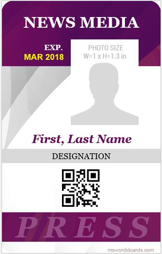 10 Best Press Reporter ID Card Templates Microsoft Word ID Card