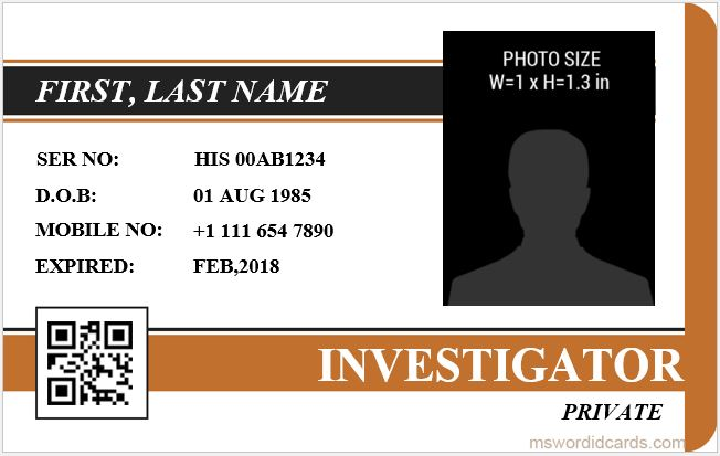 5 Best Investigator ID Card Templates MS Word Microsoft Word ID