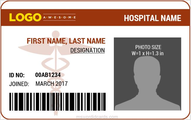 Doctor ID Card Templates MS Word Microsoft Word ID Card Templates