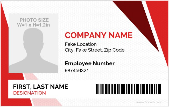 5 Best Employee ID Card Format in Word Microsoft Word ID Card - name card format