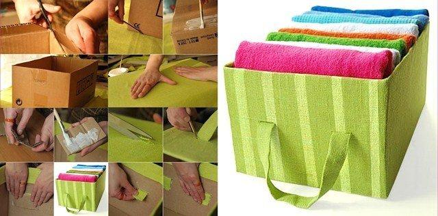 Как обшить картонную коробку тканью своими руками под игрушки 21