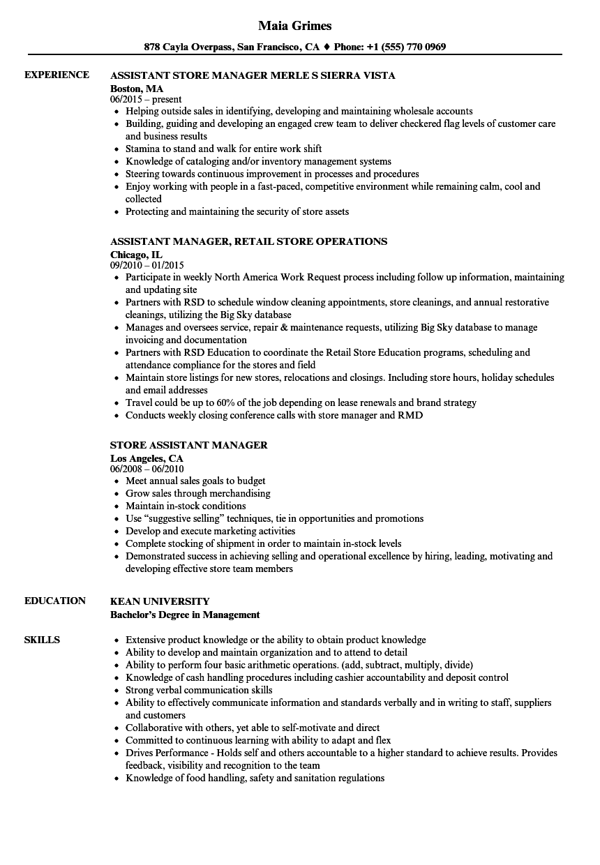 retail store assistant manager resume samples jobherojobhero
