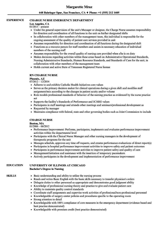 template charge nurse resume