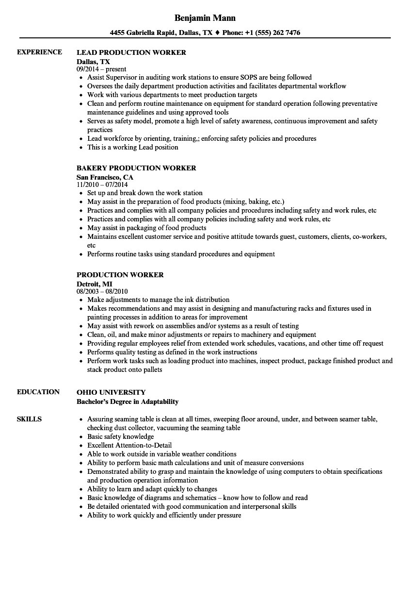 sample resumes for factory workers