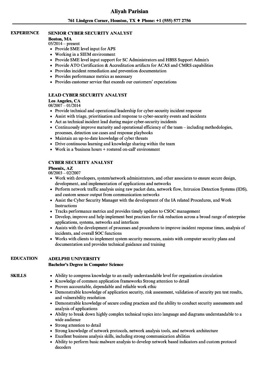 resume of information security analyst