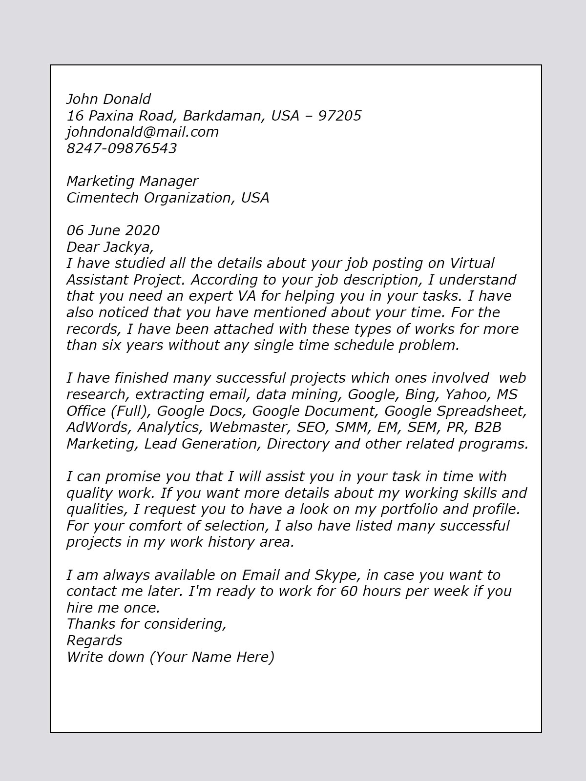 event coordinator cover letter