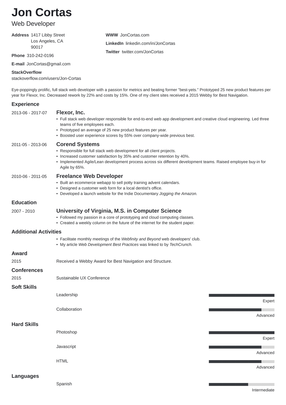 resume cover letter for web developer