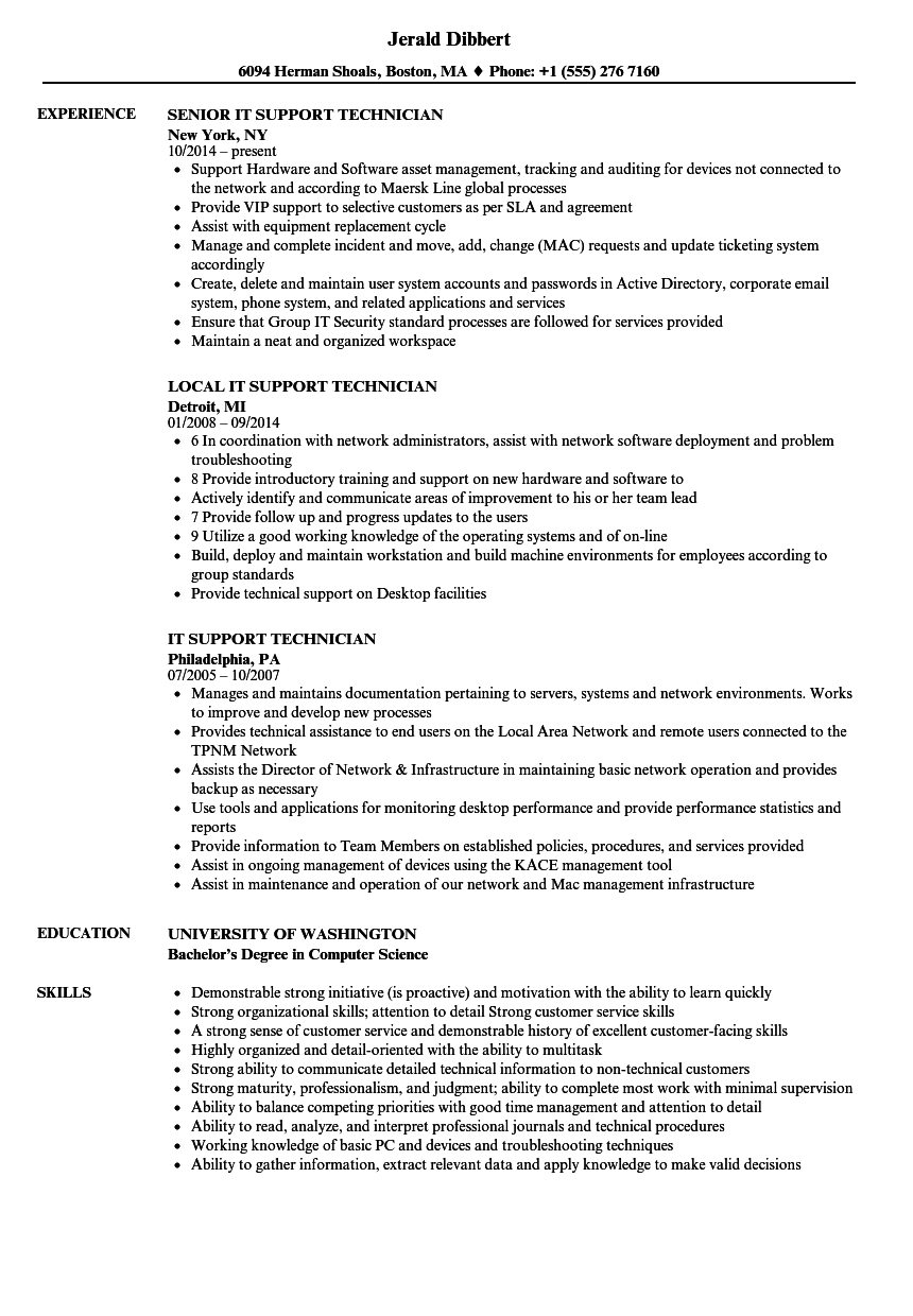 computer helpdesk in a resume example