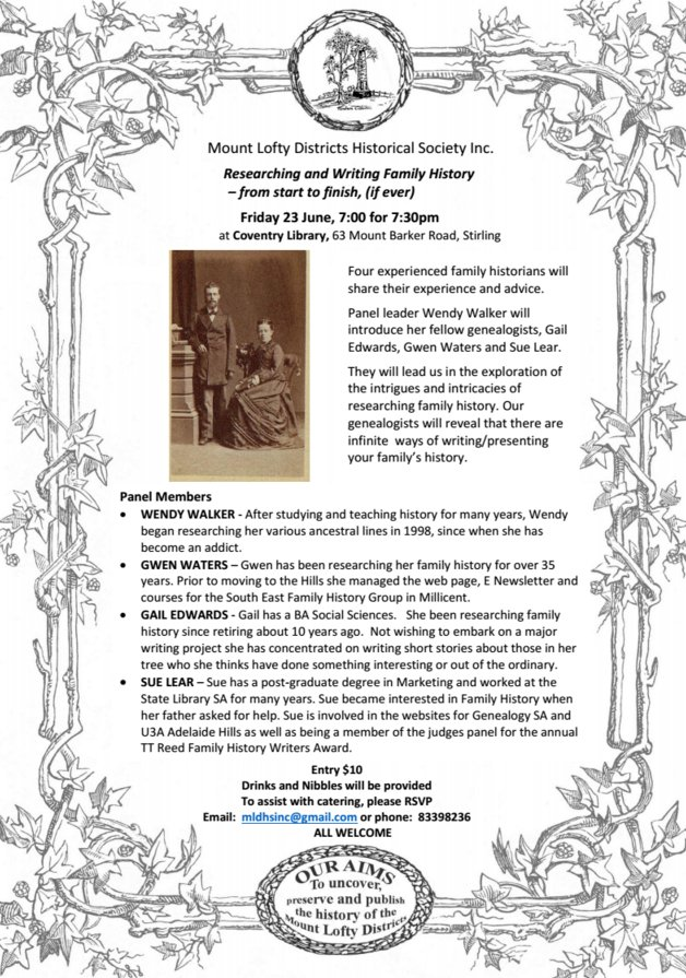 Our Next Event Family History Mount Lofty Districts Historical