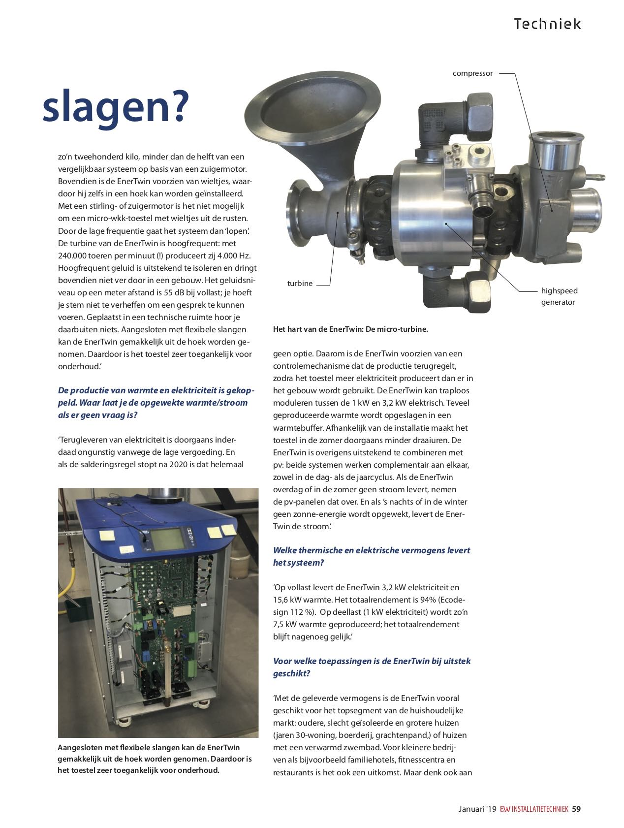 Elektriciteit Zwembad Enertwin In Uneto Vni S January 19 Issue Mtt Micro Turbine