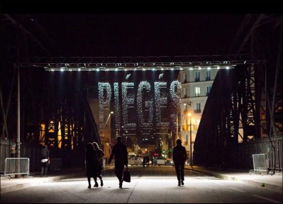 "Raining words: ""Bit Fall"" by Julius Popp; pic: Marc Verhille/Mairie de Paris"