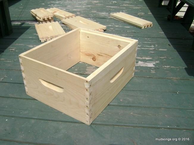 Completed deep super or hive body, assembled with nails and glue.