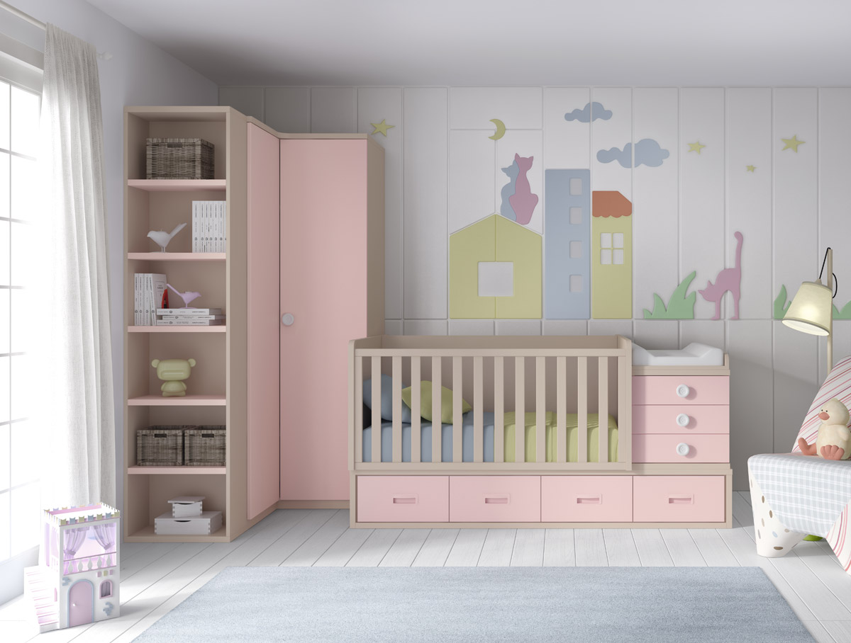 Muebles Chaves Dormitorio Infantil Con Cuna Convertible Serie Smile Color