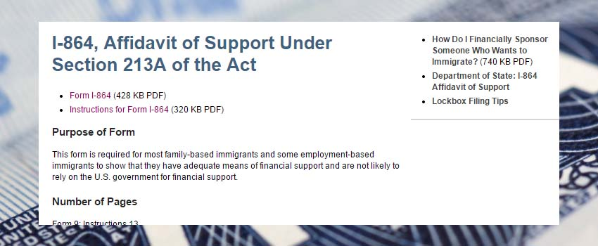 Immigration Law - Form I-864 Affidavit of Support Immigrant Petition