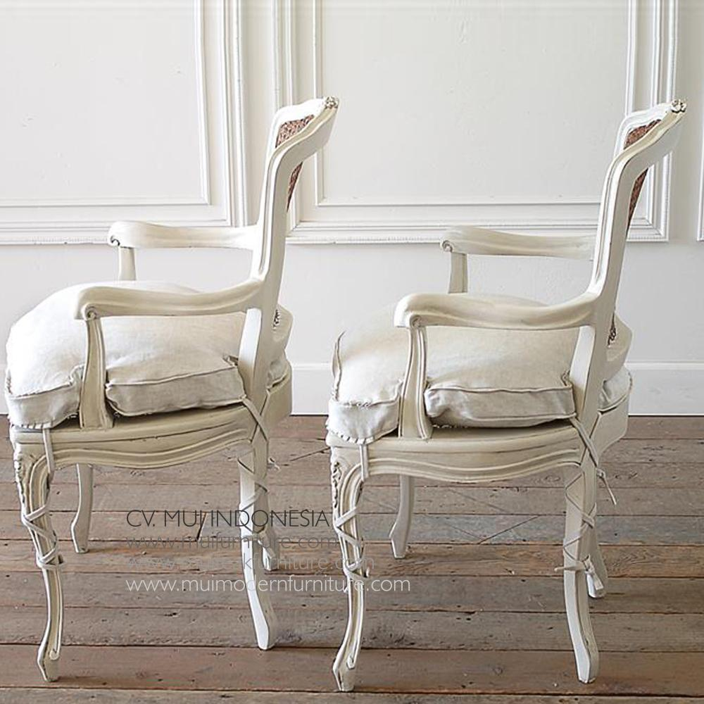 Pair Of Painted Cane Back Open Arm Chairs Mui Furniture