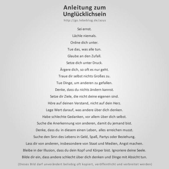 Anleitung zum Unglücklich sein.