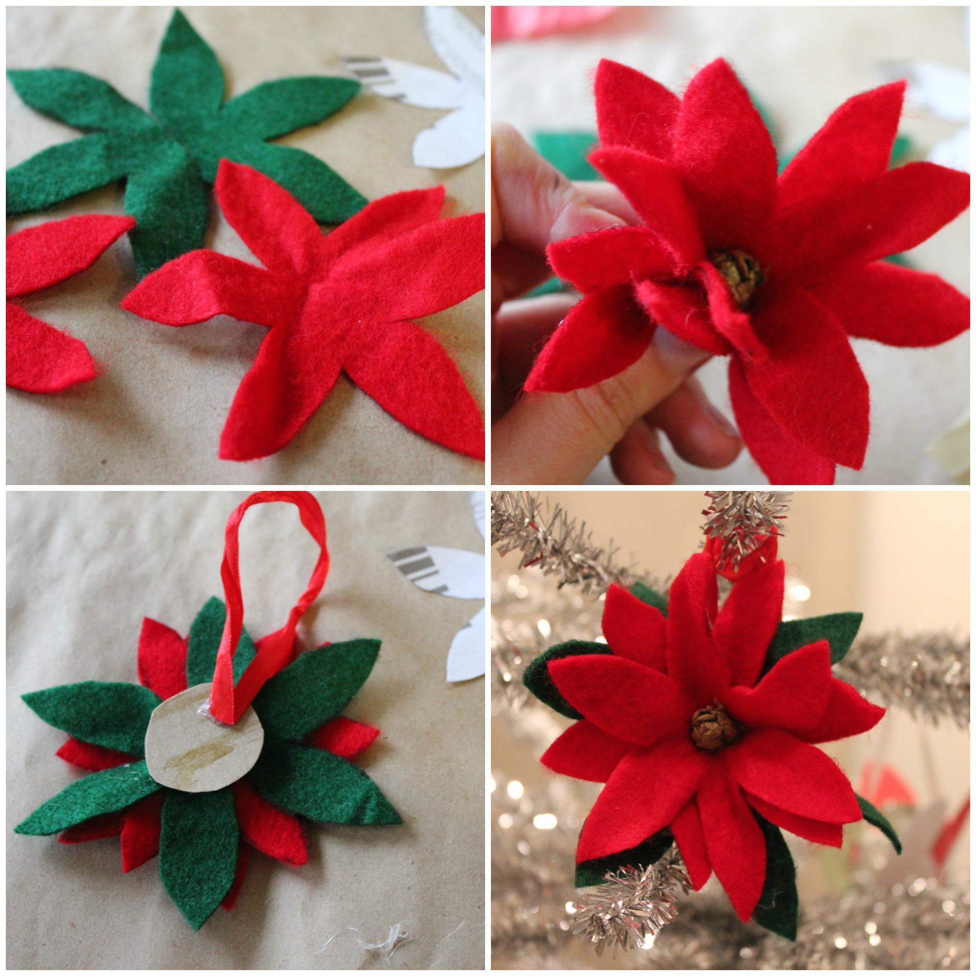 Poinsetta ornament collage