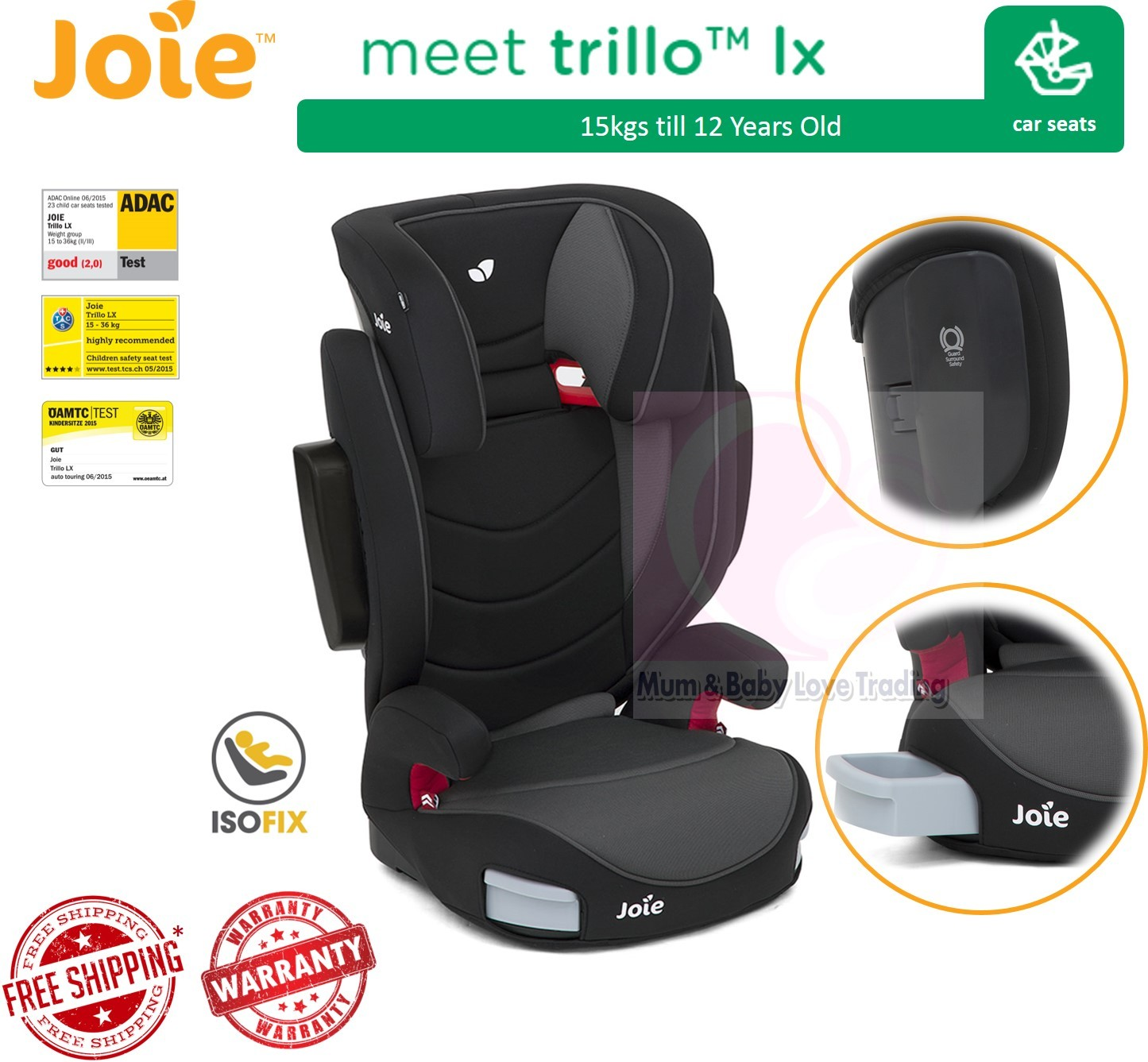 Joie Baby Car Seat Usa Joie Trillo Lx High Back Booster Car Seat With Isofix 15kg