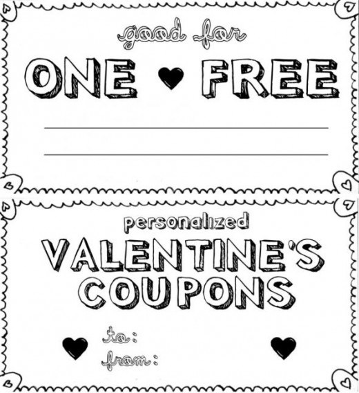 Free Printable Valentines Day Love Coupons For Him – Blank Coupons Templates
