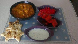 Indian Meal, Homemade indian, chicken tikka, chicken tikka kebabs, red onion chutney, yoghurt sauce, chicken curry, homemade chicken curry, Indian recipe, chicken curry recipe, indian chicken curry recipe