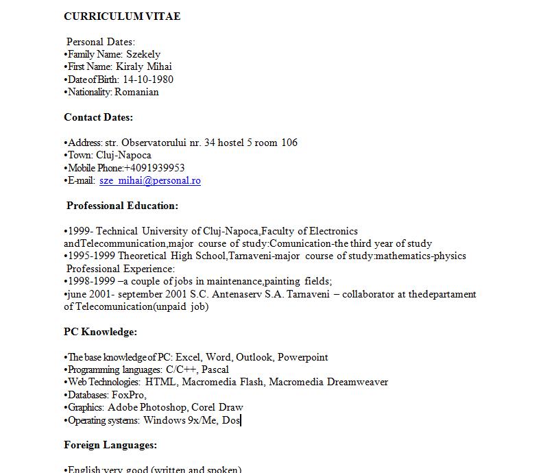 model de cv simplu completat