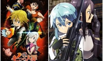 Animes Nanatsu no Taizai e Sword Art Online II (Imagem: Reprodução/Edição MN)