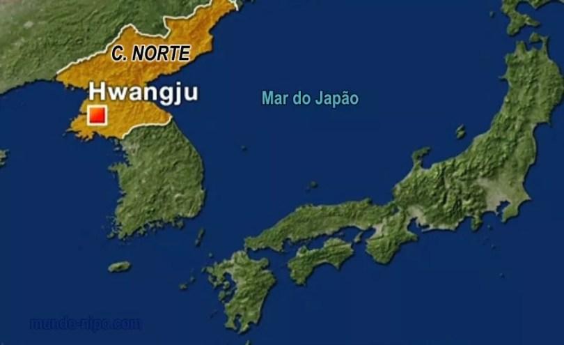 O lançamento de hoje partiu de Hwangju, no oeste da Coreia do Norte (Foto: Google Map/ Montagem Mundo-Nipo)