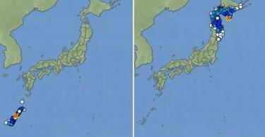 Os mapas mostram os epicentros dos tremores e as áreas afetadas (Fotos: Reprodução/JMA/ Montagem MN)