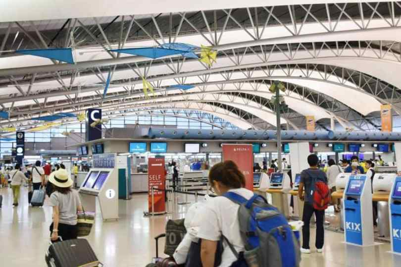 Setor de embarque do Aeroporto Internacional de Kansai (Foto: Kyodo)