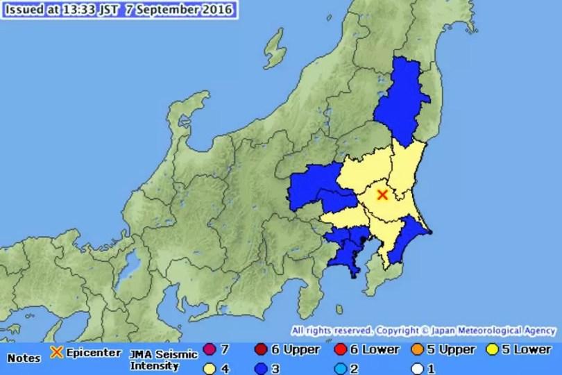 O mapa mostra o epicentro do tremor e as áreas afetadas (Foto: Reprodução/JMA)