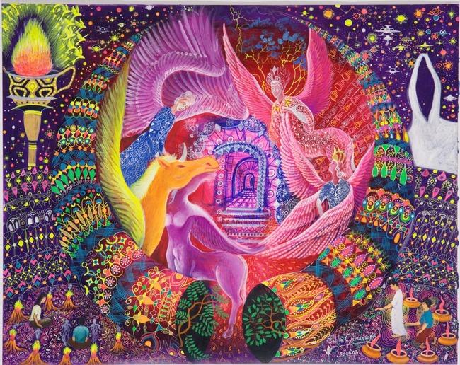 """Unicornio Dorado por Pablo Amaringo. Aparece no livro """"The Ayahuasca Visions of Pablo Amaringo"""" (""""As visões de Ayahuasca de Pablo Amaringo"""") por Howard G. Charing."""