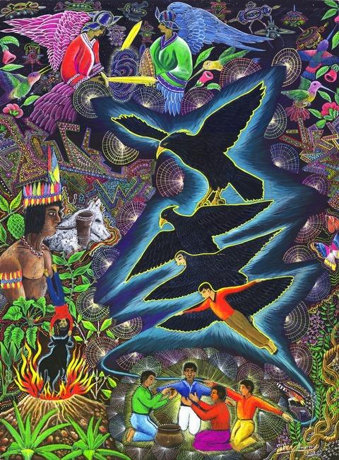 """Transformacion Del Chaman em Aguila por Pablo Amaringo. Aparece no livro """"The Ayahuasca Visions of Pablo Amaringo"""" (""""As visões de Ayahuasca de Pablo Amaringo"""") por Howard G. Charing."""