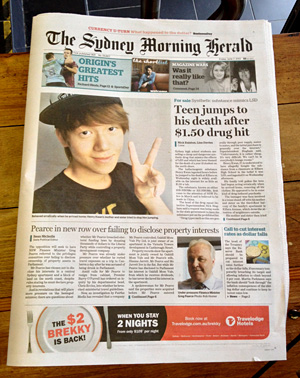 """Sydney Newspaper, by Mark Pesce In early June 2013, Henry Kwan took something he believed was LSD and later jumped to his death from a third floor balcony in Sydney, Australia. Two newspapers carried it as front page stories the next day, with one proclaiming """"boy """"'thought he could fly'"""", in clear reference to past media treatments of LSD-related deaths. Both papers indicated LSD was not likely involved, with the Sydney Morning Herald stating it was either 25B- or 25I-NBOMe."""