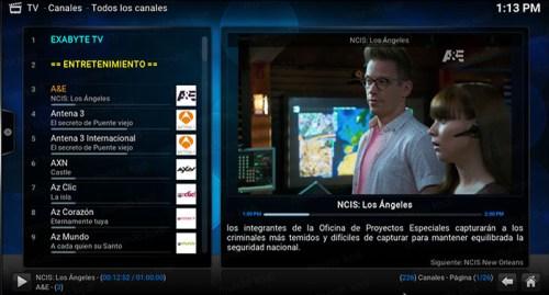 Exabyte tv en Kodi lista