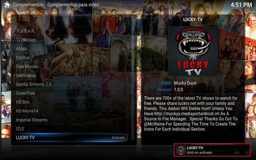 3 addon lucky tv en kodi -addon-activado