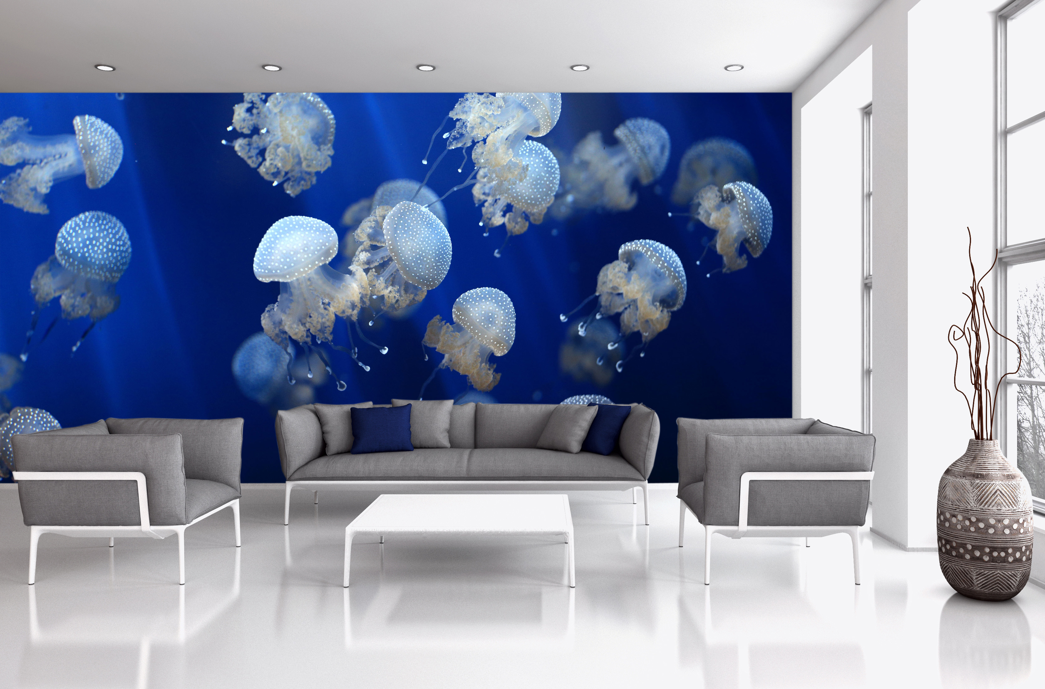 Wall Mural Ideas For Living Room Exotic Underwater Wall Mural Ideas For Your Living Rooms Mural