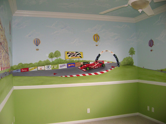 Racecar mural - Palmbeach County  South Florida - Race car wall mural for decorating boy's rooms.