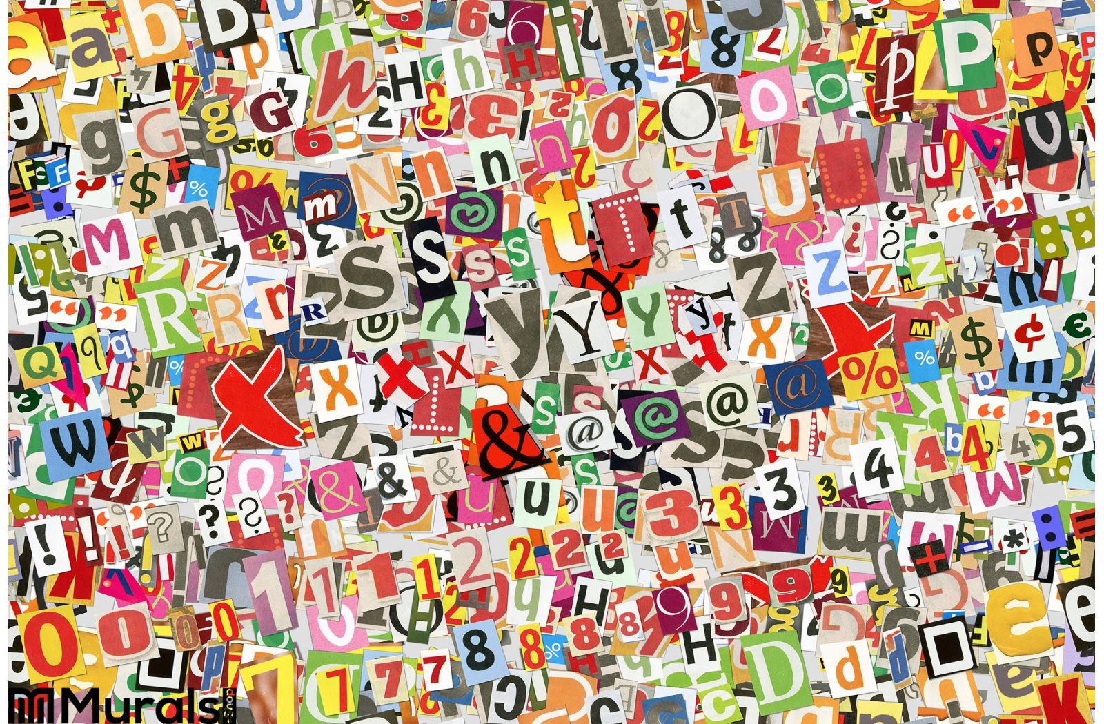 Wall Decoration Murale Colorful Letters Collage Wall Mural