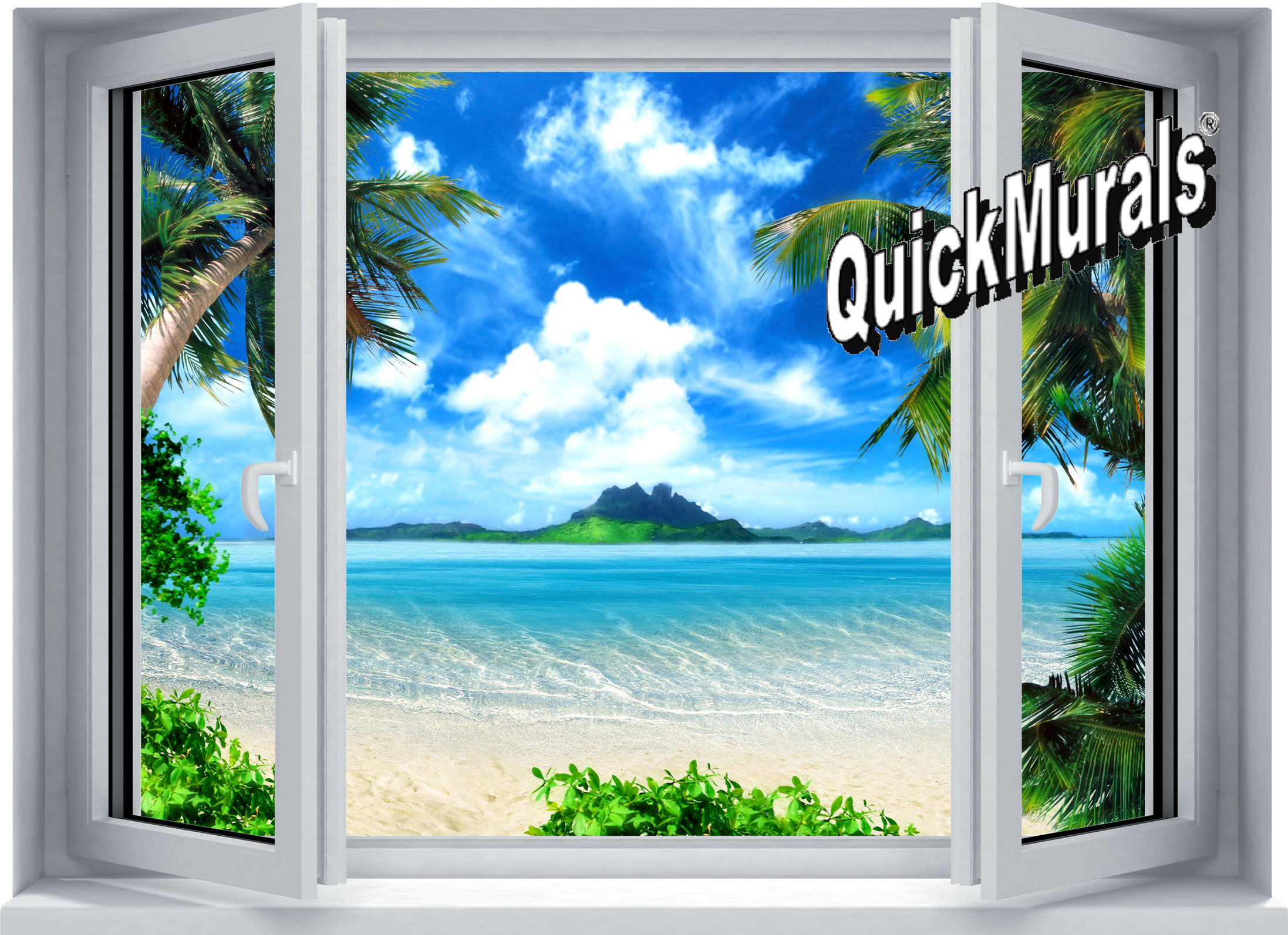 Photo Mural Tropical Window Wall Mural
