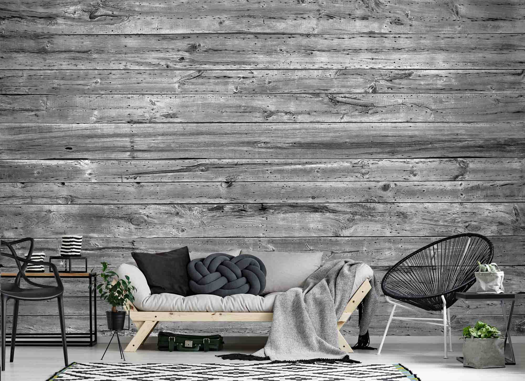 Wallpaper Mural Horizontal Old Barn Wood Black And White Muralunique