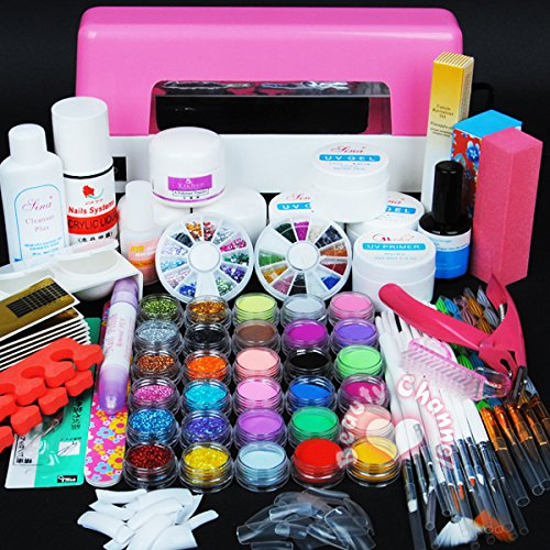 Nail Dryer 9w Uv Dryer Lamp 24 Colors Acrylic Powder Nail Art Kit