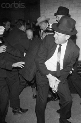 Jack Ruby shooting Lee Harvey Oswald.