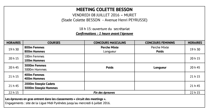 Horaires Meeting Muret 16