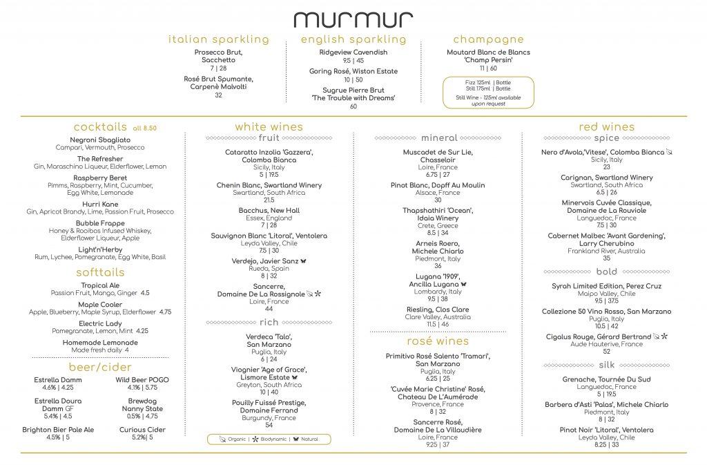 Murmur Menus - Modern British Brighton seafront restaurant - menu list sample