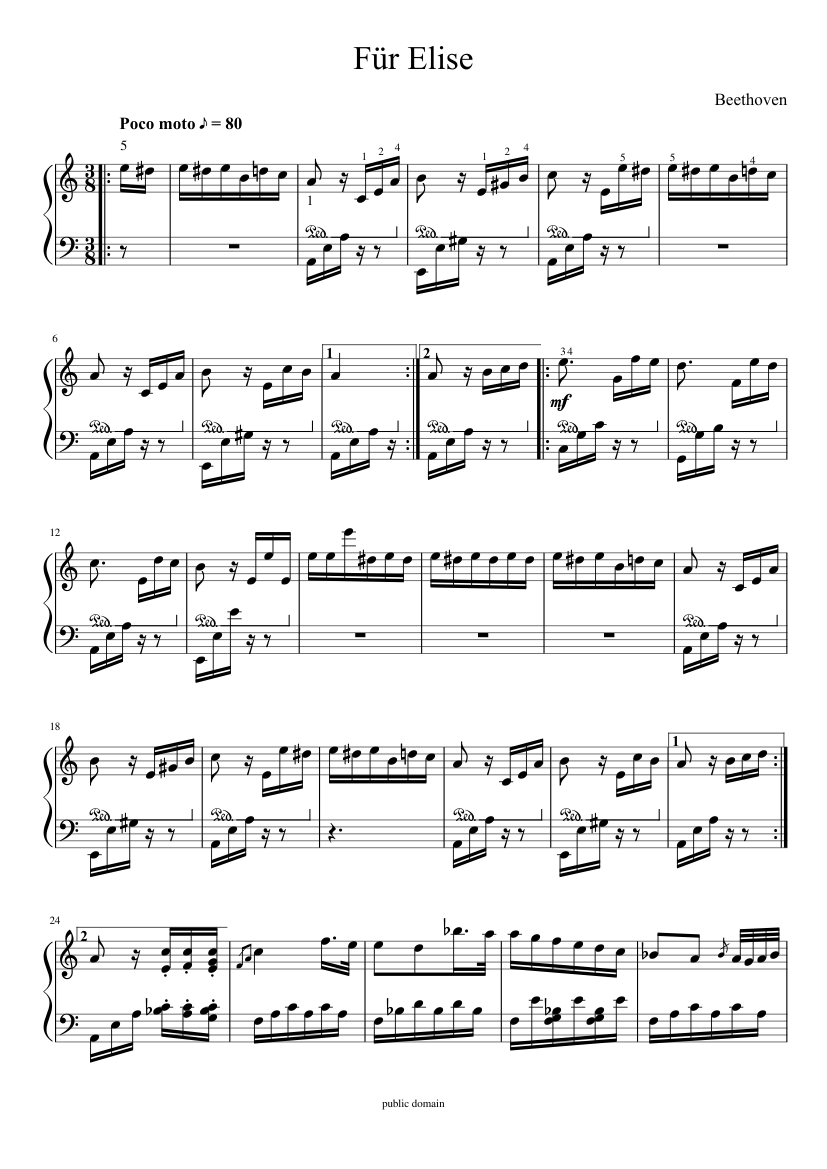 2 Für 1 Fur Elise Sheet Music For Piano Download Free In Pdf Or Midi