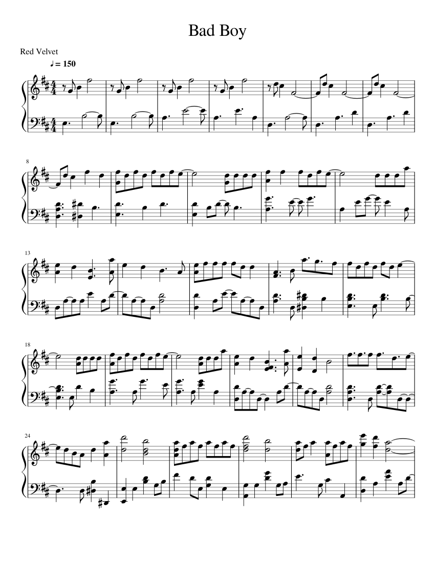 Bad Guy Set It Off Chords Bad Boy Red Velvet Sheet Music For Piano Download Free In Pdf Or Midi