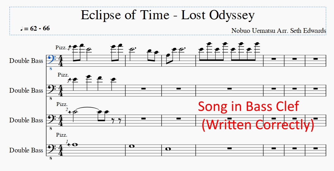 Issue - Switching from Bass Clef to Tenor Clef (Double Bass) MuseScore