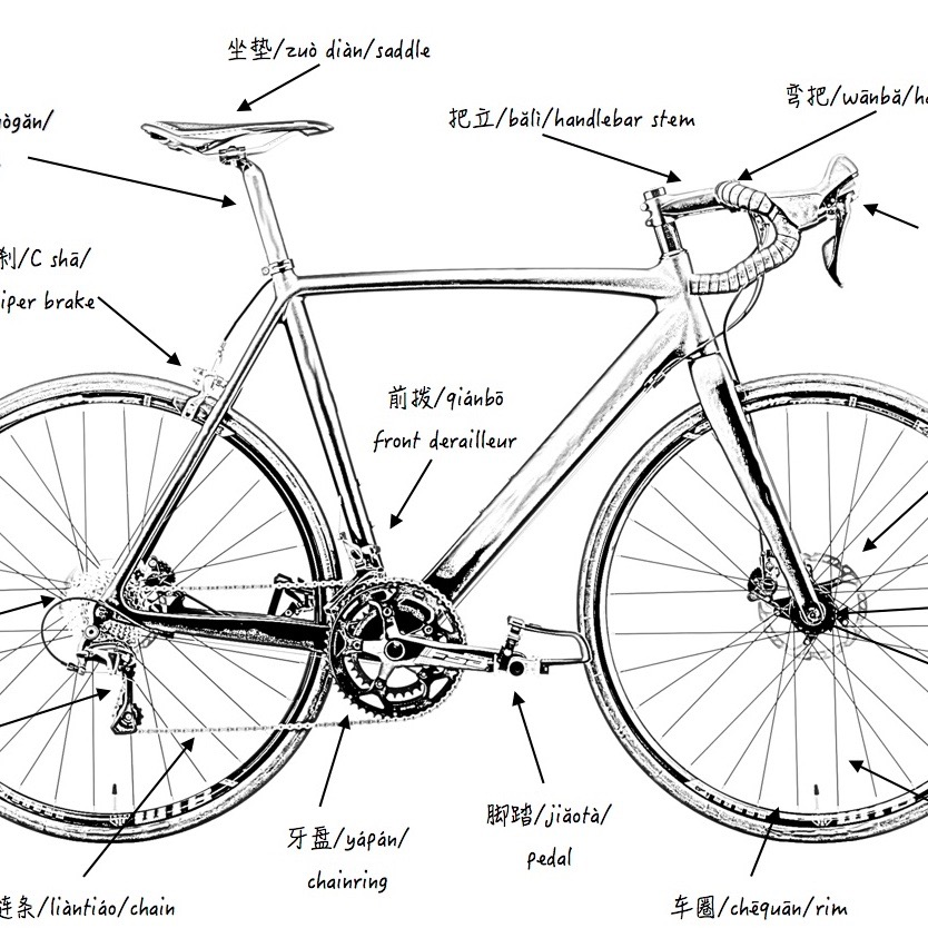 diagram of components on a bike in french institute for
