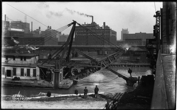 Straightening the South Broanch of the Chicago River between Polk and Taylor Streets/Photo: The Lost Panoramas (CityFilesPress.com)